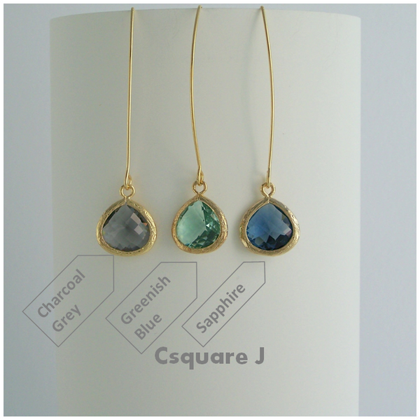 Minimalist Color Pendant Dangling Gold Earrings