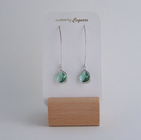 Minimalist Color Pendant Dangling Silver Earrings