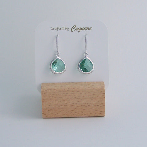 Minimalist Color Pendant Silver Earrings