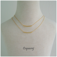 Dainty Curve Tube Gold/ Silver Multi Layer Necklace - Matte finishing