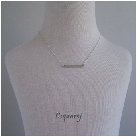 Dainty Flatbar Silver Necklace - Shiny Silver