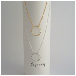 Dainty Geometric Hexagon Gold/ Silver Necklace