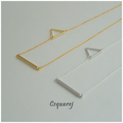 Dainty Geometric Triangle and Stick Silver Necklace