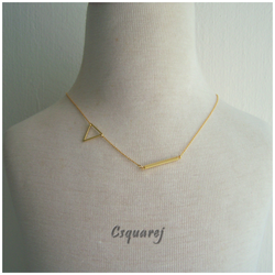 Dainty Geometric Triangle and Stick Gold Necklace