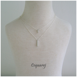 Dainty Geometric Silver Multi Layer Necklace - Triangle and Stick