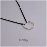 Timeless Large Gold/ Silver Ring Necklace - Black Chain, Long Necklace