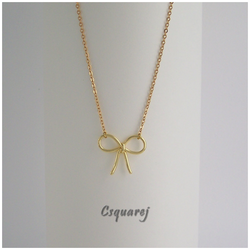 Bridesmaids Gift Necklace - Gold Ribbon