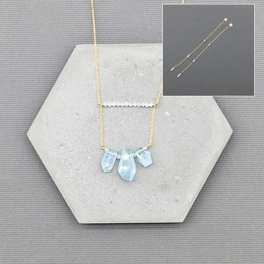14k Gold filled Aquamarine Jewelry - Aquamarine Dangling earrings, Aquamarine layer necklace