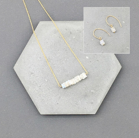 14k Gold filled Moonstone Jewelry - moonstone necklace, moonstone earrings