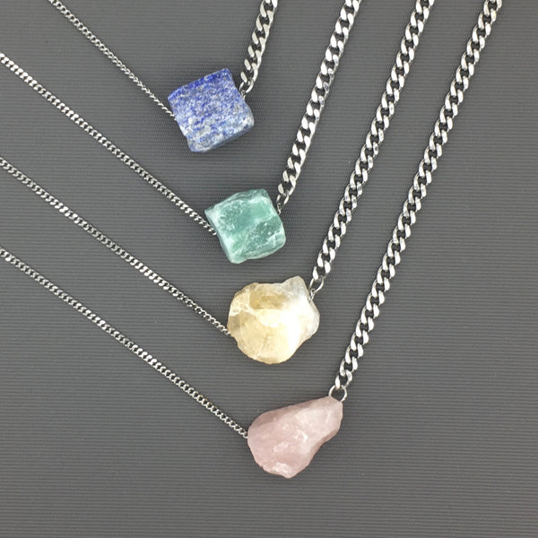 New updated pricing - Stainless Steel Unpolished Stone Necklace - Lapis Lazuli, Citrine, Rose Quartz, Green Aventurine etc