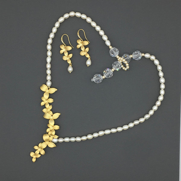 Exquisite Gold / Silver Flowers Pearl Necklace