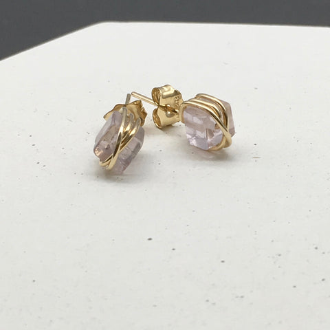 Wire wrapped 14K Gold Filled earring stud - Fluorite gemstone