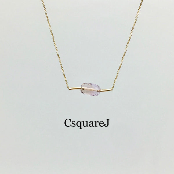 14K Gold filled Minimalist Ametrine bar necklace - Sample sale less 20%