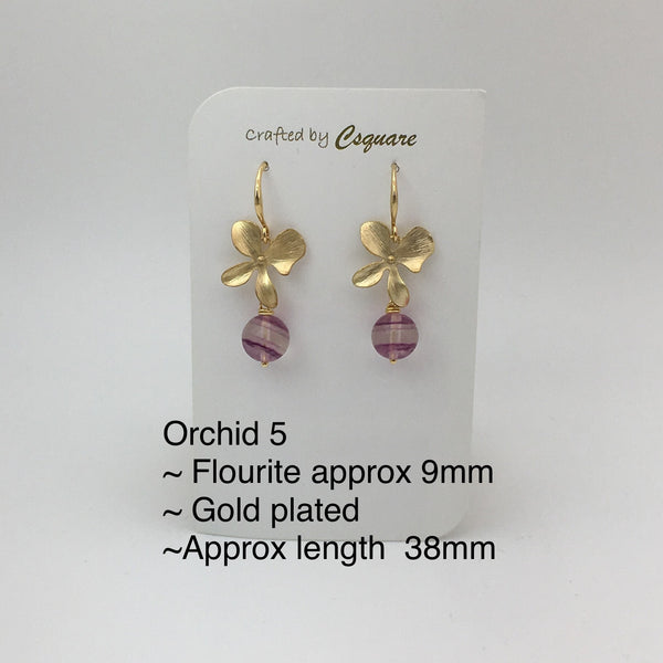 Online Only Offers - Orchid Earrings - Flourite, Agate, Charoite, Amethyst