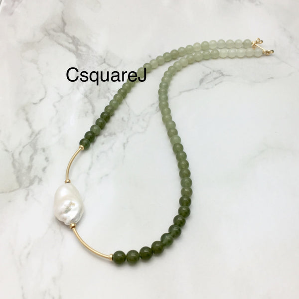 Asymmetric necklace, Statement necklace - Nephrite 和田玉 and Pearl