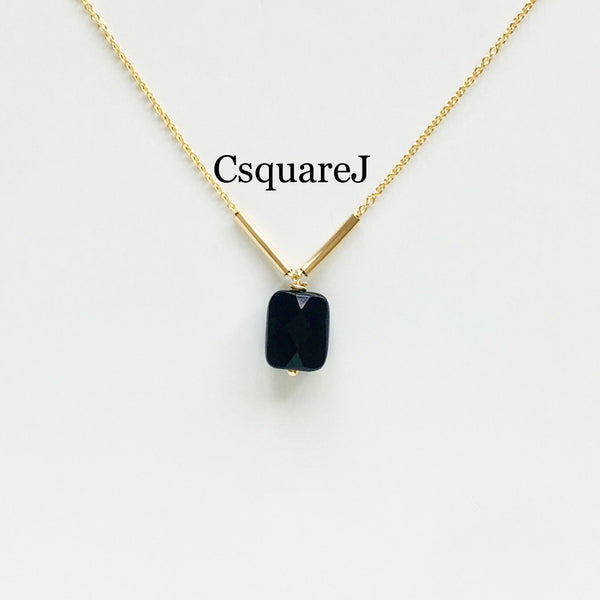 14K Gold filled Minimalist dainty necklace - Onyx
