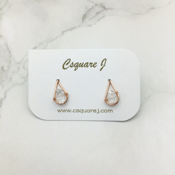 Rose Gold Filled Wire wrapped stud earrings - Herkimer Diamond