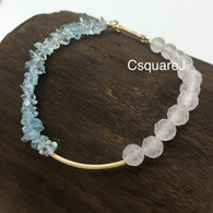 Asymmetric bracelet - Aquamarine & Rose Quartz, 14k gold filled
