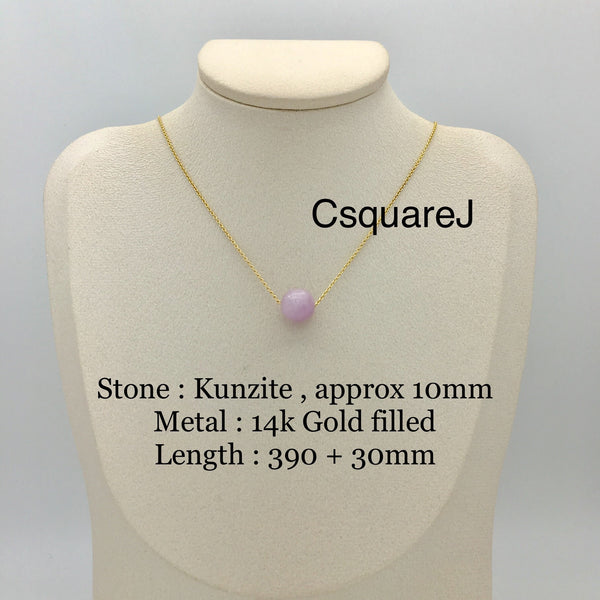 Kunzite  Solitaire Minimalist necklace - 14k Gold filled