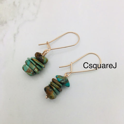 Turquoise Dangling earrings -  14k Rose Gold Filled hook