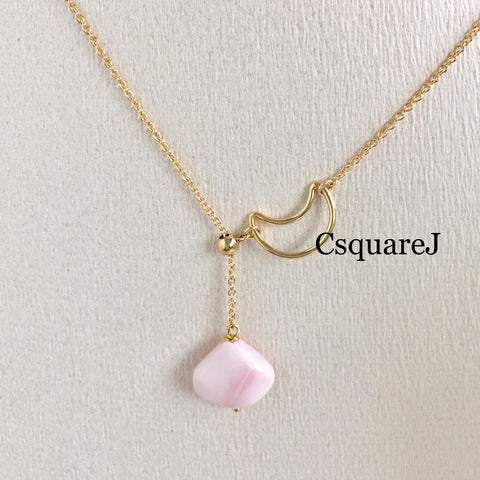 14K Gold Filled Adjustable Necklace - Pink Opal, Moon necklace, Y necklace, Lariat necklace