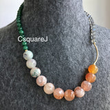 Asymmetric necklace, Statement necklace - Sakura Agate, Green Strawberry Quartz & Labradorite
