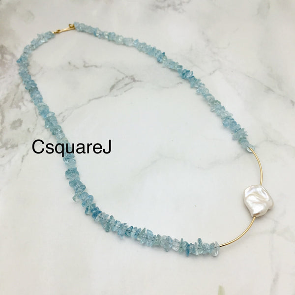Asymmetric necklace, Statement necklace - Aquamarine & Freshwater Pearl