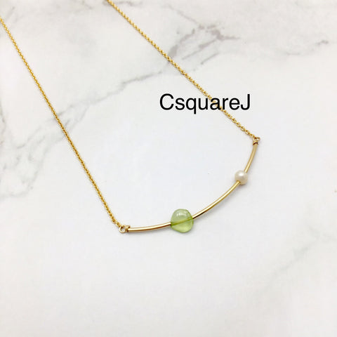 Pearl & Peridot, Bar necklace - June Birthstone, August Birthstone, 14k Gold filled