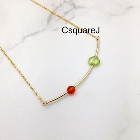 Carnelian & Peridot, Bar necklace - August Birthstone, 14k Gold filled