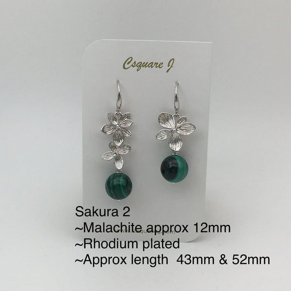 Online Only Offers - Sakura Earrings - Phantom Quartz, Strawberry Quartz, Malachite