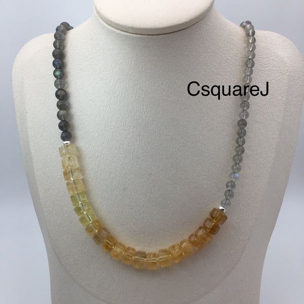 Asymmetric necklace, Minimalist necklace - Labradorite and Citrine