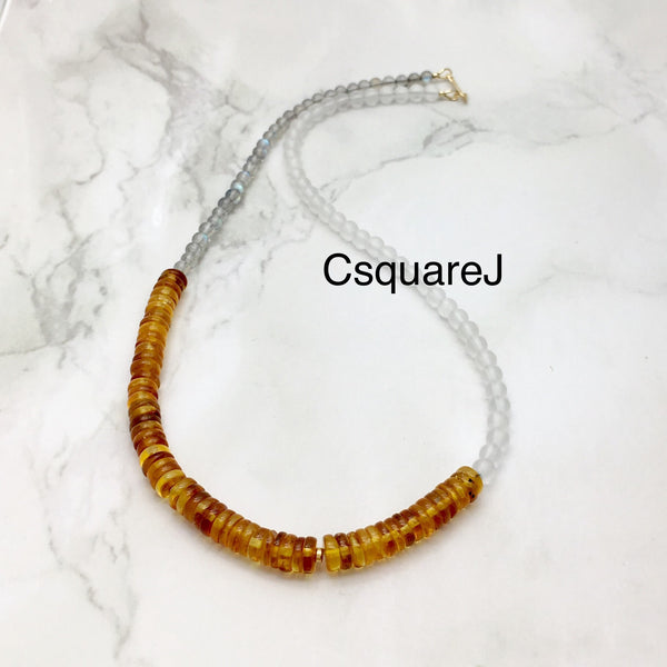 Asymmetric necklace, Statement necklace - Amber, Labradorite & Clear Quartz