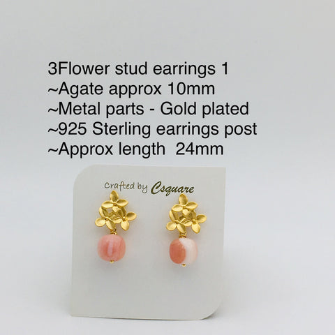 Online Only Offers - 3Flowers Stud Earrings - Rose Quartz / Howlite / Lapis Lazuli / Moonstone / Amethyst / Phantom Quartz / Agate