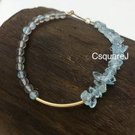 Asymmetric bracelet - Aquamarine & Labradorite, 14k gold filled