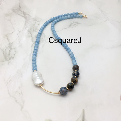 Asymmetric necklace, Statement necklace - Aquamarine, Pearl, and Pietersite