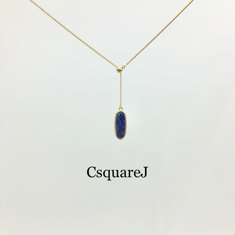 Adjustable Minimalist Dainty Y necklace (Long version) - Lapis Lazuli, Rose Quartz, Amethyst