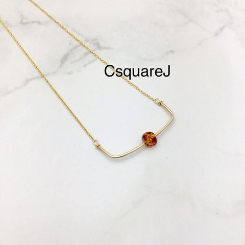 Dainty Amber necklace - 14k Gold filled