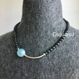 Asymmetric necklace, Statement necklace - Black Labradorite and Aquamarine