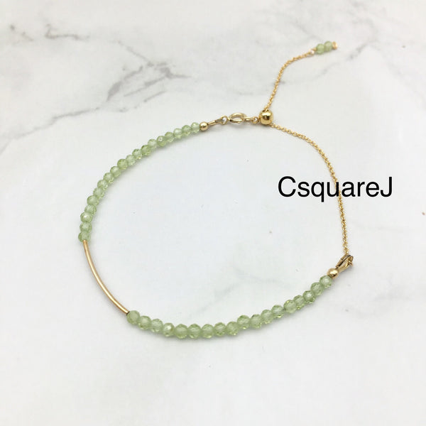 Peridot Dainty Bar 14k Gold Filled Bracelet, August Birthstones