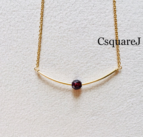 14K Gold filled Minimalist dainty necklace - Garnet, January Birthstone