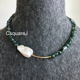Asymmetric necklace, Statement necklace - Moss Agate and Pearl