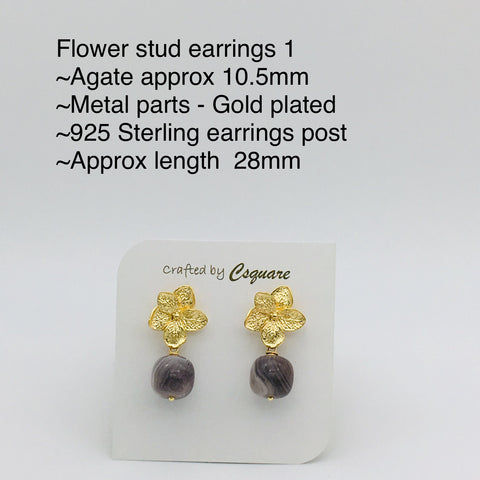 Online Only Offers - Flowers Stud Earrings - Rose Quartz / Howlite / Lapis Lazuli / Moonstone / Amethyst / Phantom Quartz / Agate