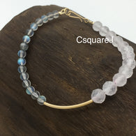 Asymmetric bracelet - Labradorite & Rose Quartz, 14k gold filled