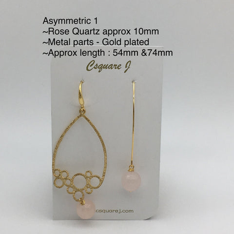 Online Only Offers - Asymmetric Earrings - Rose Quartz, Lapis Lazuli, Kyanite, Amazonite