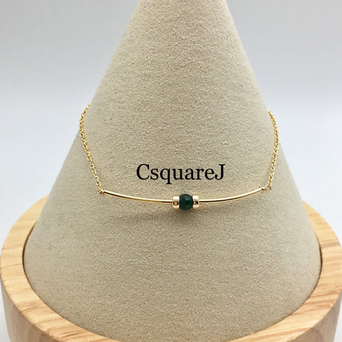 14K Gold filled Minimalist dainty necklace - Emerald, May Birthstone