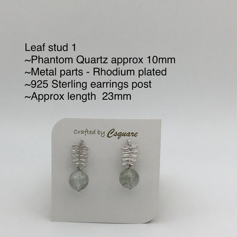 Online Only Offers - Leaf Stud Earrings - Rose Quartz / Howlite / Lapis Lazuli / Moonstone / Amethyst / Phantom Quartz / Agate