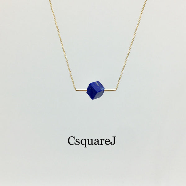 14K Gold filled Minimalist Square Lapis Lazuli bar necklace