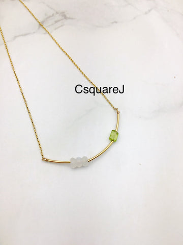 Moonstone & Peridot, Bar necklace - June Birthstone, August Birthstone, 14k Gold filled