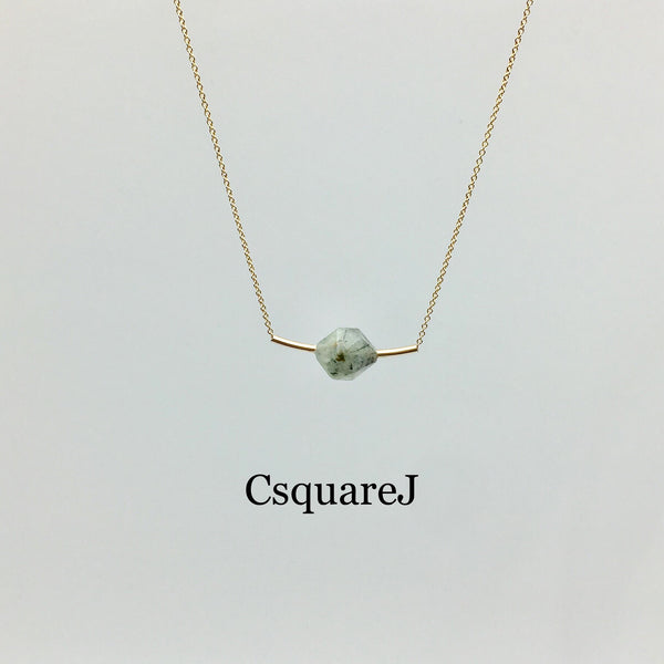 14K Gold filled Minimalist Green Amethyst (Prasiolite) bar necklace