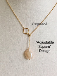 14K Gold Filled Minimalist Pearl Adjustable Square necklace